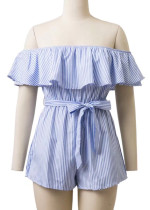 Off Shoulder Striped Romper - Size L