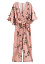 Tiered Bell Sleeve Floral Jumpsuit in Blush