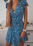 Floral Short Dress with Back Waist Tie Detail