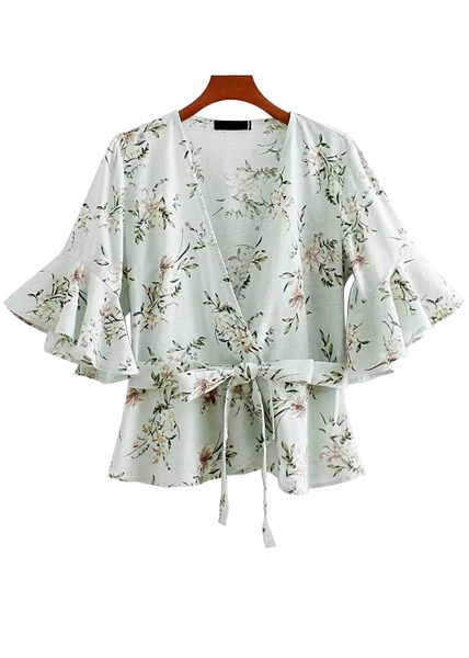 Belted Waist Floral Blouse