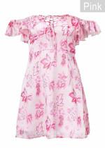 Off Shoulder Floral Dress with Front Lace-Up Detail