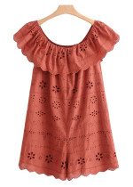 Embroidered Eyelet Romper - Size M