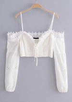 Lace-Up Tie Front Embroidered Crop Top in White