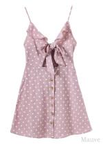 Tie Front Polka Dot Frill Slip Dress