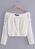 Off Shoulder Blouse with Lace Detail - Size L