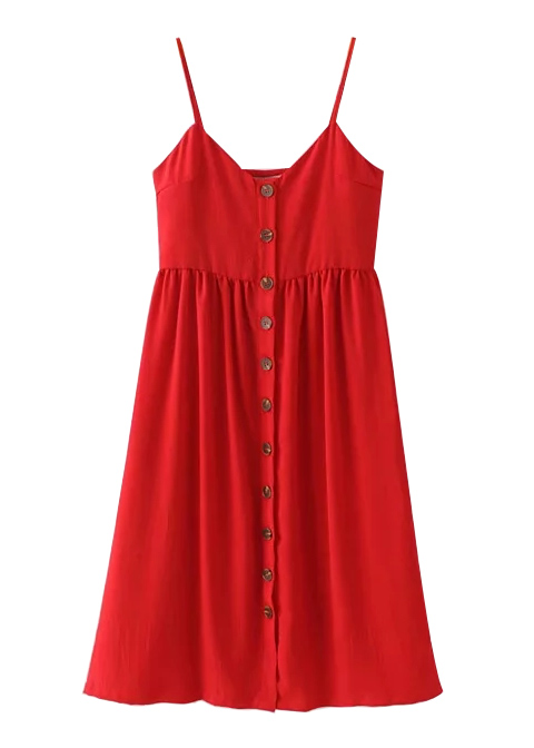 Button Front Slip Dress with Pocket Detail