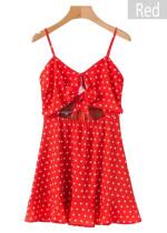 Front Tie Cut-Out Waist Slip Dress