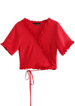 Frill Wrap Top in Red | Yellow