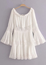 Lace Panel Detail Off Shoulder Dress in White