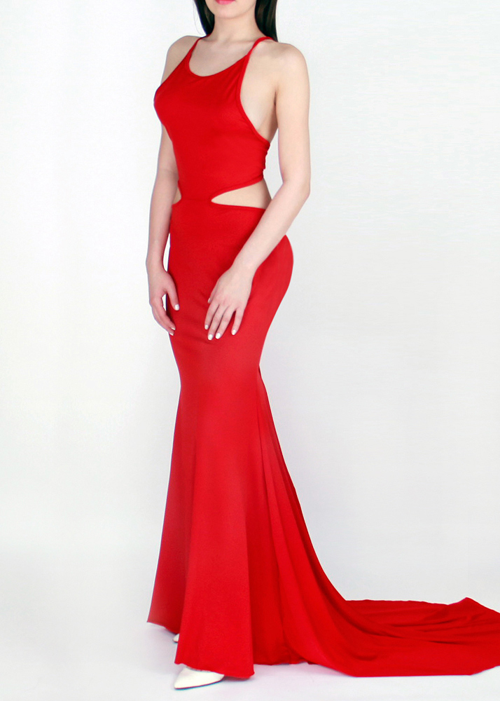 Sexy Backless Maxi Prom Dress