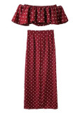 Dot Print Set ( Off Shoulder Top & Maxi Skirt )