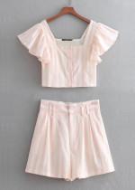 Striped Set in Blush ( Crop Blouse & High Waist Shorts )