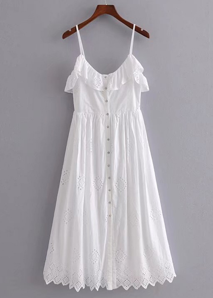 White Buttoned Front Maxi Dress