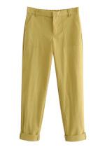 Slant Pocket Detail Pants in Lemon