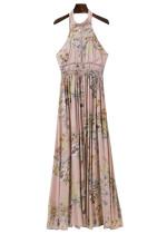 Back Tie Floral Maxi Dress - Size L