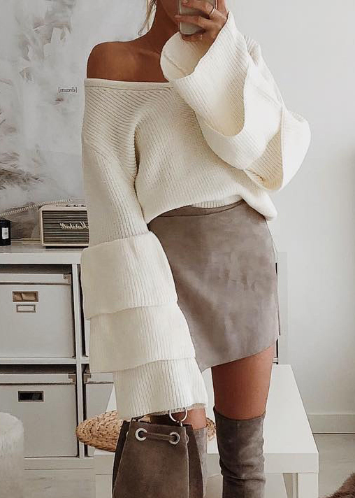Tiered Bell Sleeve V-Neck Sweater
