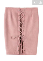Suede Skirt with Front Lace-Up Detail