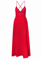 Backless Maxi Dress with Bust Lace Detail - Size M
