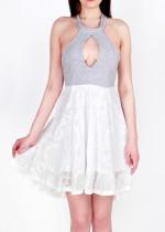 Cut-Out Sleeveless Lace Splicing Dress
