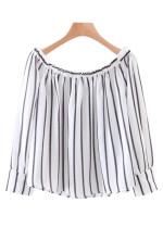 Off the Shoulder Striped Blouse - Size L