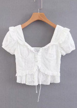 Lace-Up Front Embroidered Eyelet Top in White