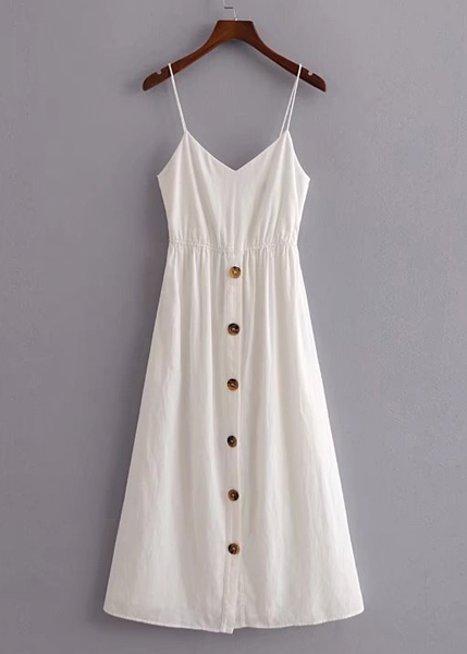 Back Tie Maxi Dress in White - Size XS