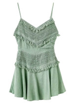 Tie Back Lace Overlay Dress - Size M