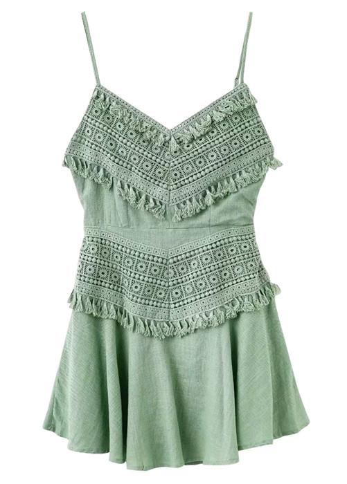 Tie Back Lace Overlay Dress - Size M