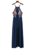 【SALE】X-Back Embroidered Maxi Dress - Size M