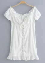 Lace-Up Front Mini Dress in White
