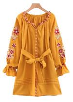 Balloon Sleeve Embroidered Dress