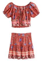 Red Floral Set ( Off Shoulder Top & Skirt )