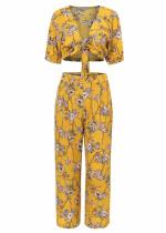 Floral Set ( Tie Front Crop Top & Pants )