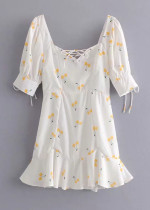Lace-Up Front Dress in White Floral
