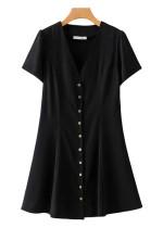Button Front V-Neck Dress