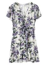 Belted Waist Floral Dress