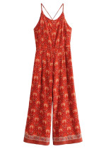 Backless Jumpsuit in Red Floral