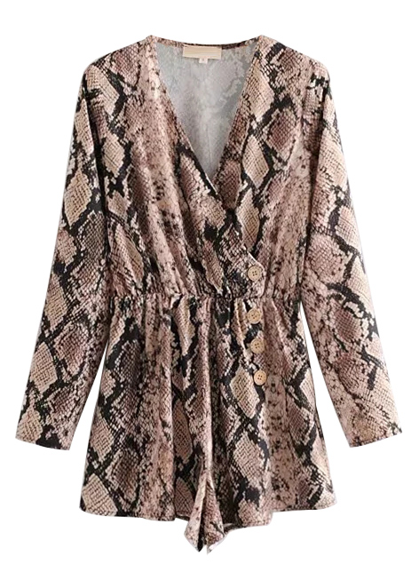 Button Front Snake Romper