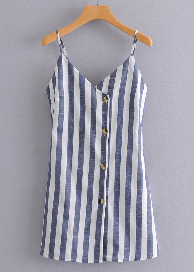 Button Front Striped Slip Dress