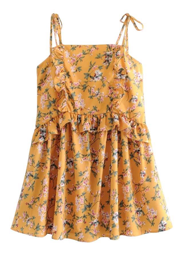 Self-Tie Strap Mini Dress in Yellow Floral
