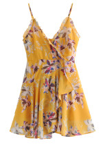 Frill Detail Slip Dress in Yellow Floral