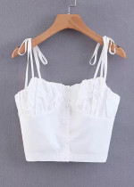 Button Front Crop Top in White