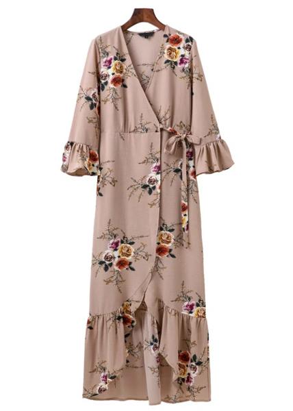 Wrap Front Floral Maxi Dress - Size S