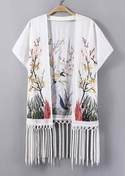 Embroidered Fringed Cardigan