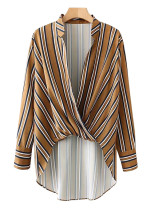 Crossover Front Striped Blouse - Size M