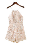 Backless Embroidered Romper - Size M