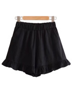 Ruffled Hem Shorts with Slant Pocket Detail