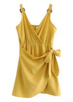 Draped Overlay Slip Dress in Yellow