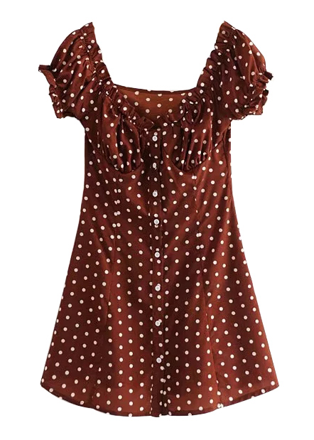 Button Front Polka Dot Dress in Rust