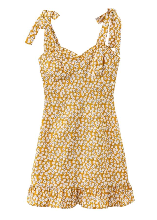 Self-Tie Strap Floral Dress